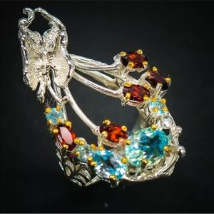 Stunning artisan butterfly ring size 6.25
